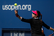 American Christina McHale prepares to serve in her second round match at the 2014 US Open.