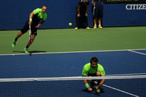 No. 2 seed Alexander Peya of Austria and Bruno Soares of Brasil in action on Day 4 of the 2014 US Open.