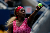 American Serena Williams prepares to serve on Day 4 of the US Open.