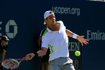 Paul-Henri Mathieu of France in his action on Day 4 of the US Open.