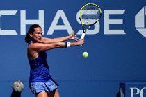 No. 28 Roberta Vinci in action on Day 5 of the 2014 US Open.