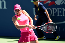 No. 2 Simona Halep in action on Day 5 of the 2014 US Open.