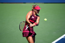 No. 6 Angelique Kerber in action on Day 5 of the 2014 US Open.