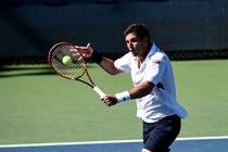 Federico Delbonis of Argentina in action on Court 13