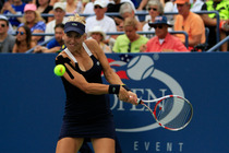Elena Vesnina of Russia in her third-round match on Day 6 of the 2014 US Open.