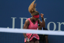 Top seed Serena Williams in her third round match in Arthur Ashe Stadium.