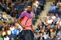 Nick Kyrgios shows his satisfaction after winning the first set of his match against Tommy Robredo.