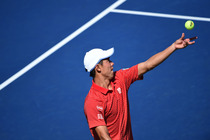 Tenth seed Kei Nishikori takes on Leonardo Mayer in the third round of the 2014 US Open