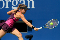 American Nicole Gibbs in action on Day 6 of the 2014 US Open.