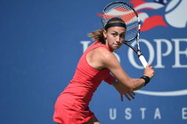 Aleksandra Krunic of Serbia defeated No. 3 Petra Kvitova in Louis Armstrong Stadium.
