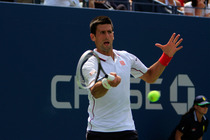 Top seed Novak Djokovic in his third-round match on Day 6 of the 2014 US Open.