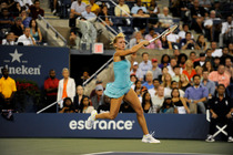 Camila Giorgi in action during her third round upset of No. 6 seed Caroline Wozniacki.