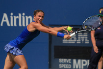 No. 13 seed Sara Errani of Italy in action against Croatia's Mirjana Lucic-Baroni in the round of 16.