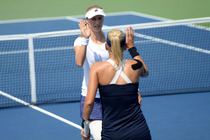 Ekaterina Makarova and Elena Vesnina, seeded fourth, in the third round of the US Open.