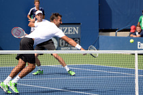 No. 3 Daniel Nestor and Nenad Zimonjic in their third round match on Court 5.