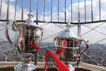 The US Open trophies on top of the Empire State Building. You can follow the trophies as they tour New York on Twitter @USOpentrophies.